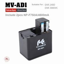 Falcon Olhos Caso Suporte Da Bateria MV-AD1 + 2 pcs Baterias para FALCONEYES NP-F750A DVR-240D DVR-300DVC LED Ring Light