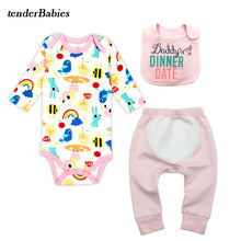 Autumn 100% Cotton Baby Body suit Newborn Body Baby Long Sleeve Underwear Infant Boy Girl Pajamas Clothes baby bibs Romper(China)