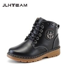 2016 winter new shoes Martin boots Korean tidal boy big virgin children plus velvet leather short boots