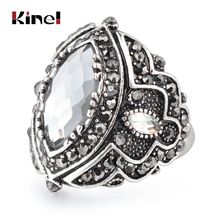 все цены на Kinel Luxury Antique Ring For Women Vintage Look Gray Glass Jewelry Bohemian Silver Color Inlay AAA Gray Crystal Charm Punk Ring онлайн