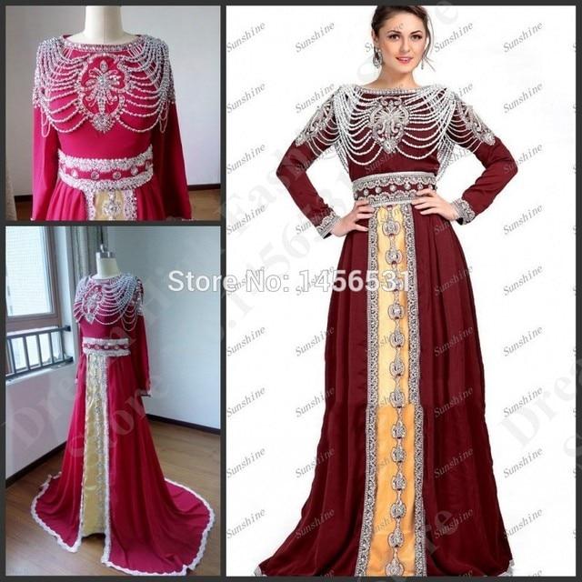 Luxury Caftan Marocain Long Sleeve Burgundy Prom Dresses 2015 Abendkleider  Crystal Real Long Evening Gowns Dubai Kaftan Dresses 80975b233096