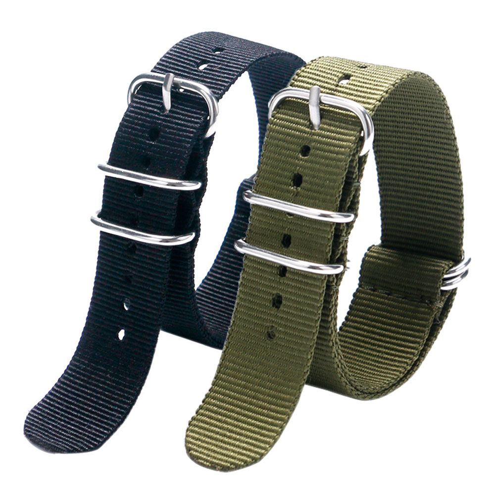 Fashion Cool Black & Army Green 20/22MM Fabric Nylon Canvas Watch Strap Band With 5 Rings For Sport Watches Men Women xinboqin nylon fabric quartz watches men women fashion waterproof watch sport thin students canvas unisex wristwatches 3059