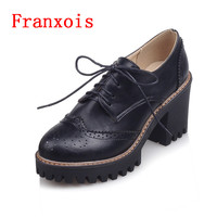 Franxois Martin Round Toe Women Shoes Autumn Spring Ladies Shoes PU Genuine Leather Boots Vintage Casual