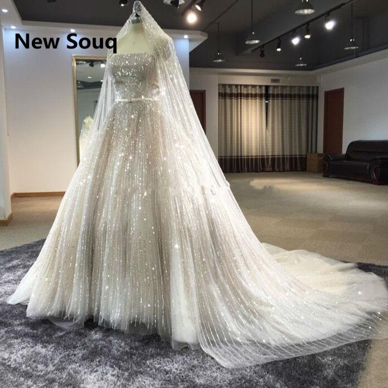 Luxury Sequined Ball Gown Wedding Dresses with Veil 2019 Strapless Bridal Dress Arabic Dubai Wedding Gowns vestidos de noiva