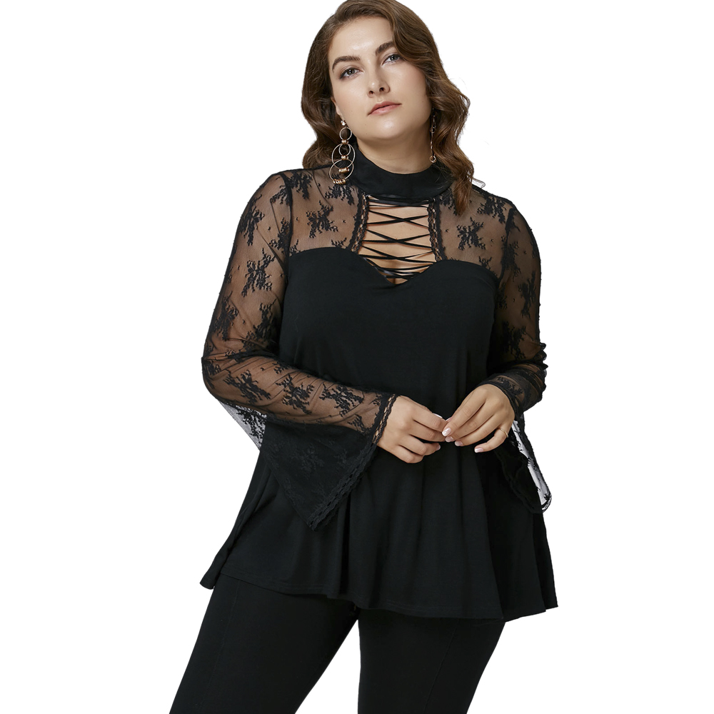 CharMma 2017 New Autumn Fashion Panel Tops Women XL-5XL Plus Size Fall Flare Sleeve Criss-Cross See Thru Shirt For Ladies