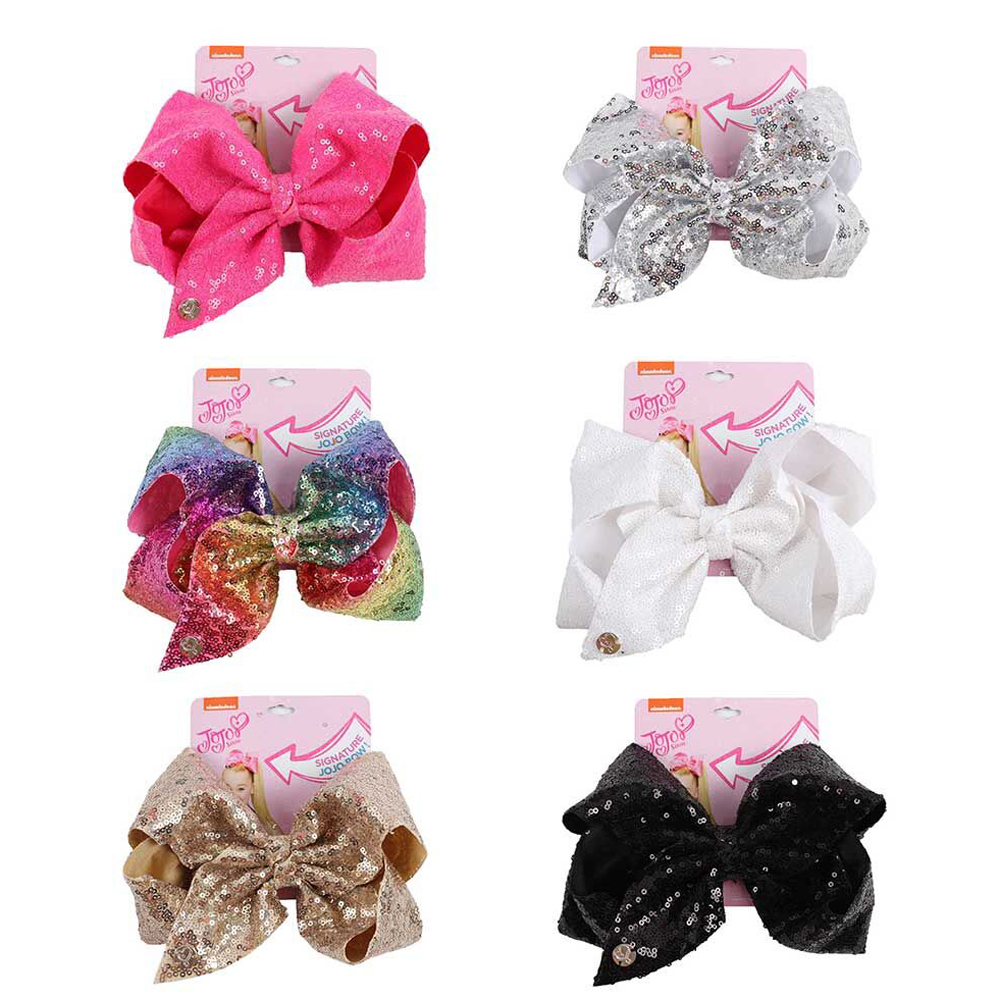 "8"" Large Sequin JoJo Si Bow With Hair Clip For Girl Kids Handmade Bling Jumbo Rainbow Knot Hair Bow Hairgrips Hair Accessories(China)"