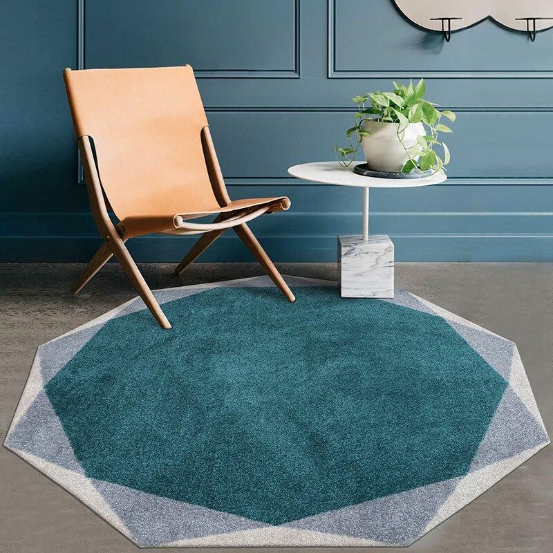 Tapis de salon géométrique en forme de diamant Unique, tapis de chevet nordique de grande taille, tapis de bureau de décoration bleu, tapis de sol