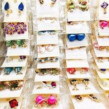 Оптовая продажа, 60 пар разнообразных женских модных украшений, красивые серьги из горного хрусталя, Серьги разных стилей