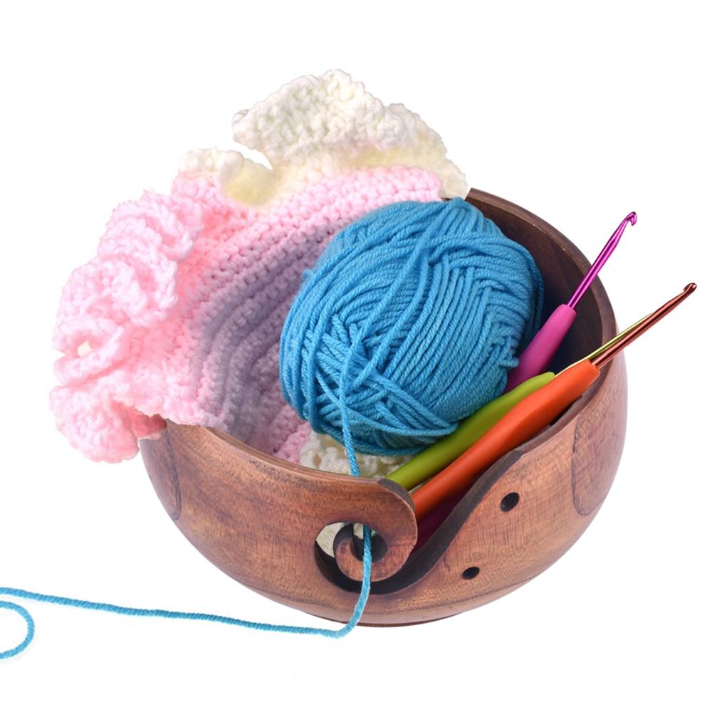 3 Tailles Fil stockage bol en bois fil boules Organisateur pour tricoter crocheter