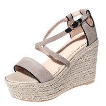 Fashion ankle warp Frauen Sandalen peep toe Wedges schaffell wildleder Sommer Schuhe Strand solide schnalle 10 cm plattform schuhe