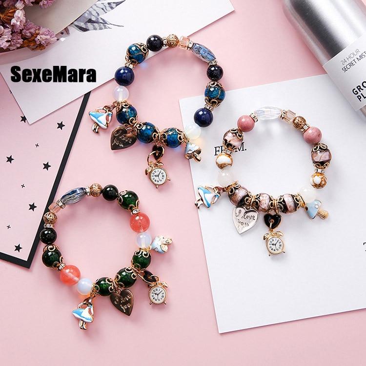 Bracelet de perles colorées style bohème fille horloge amour lettre serrure