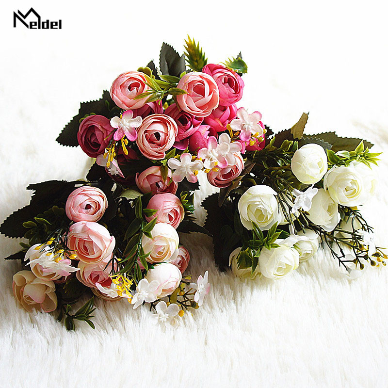13 heads 1 bundle Silk roses Bride bouquet for Christmas home wedding new Year decoration fake plants artificial flowers (11)