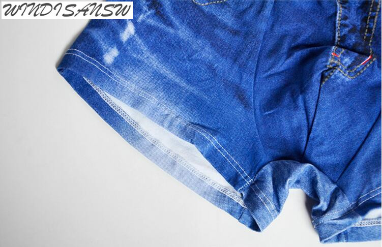 WINDISANSW cotton and spandex Cool Mens Clothing Accessories Underwears Fashion Jean Print Boxers for man qt138