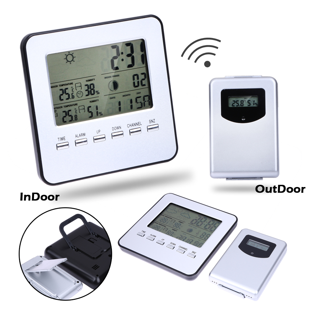 LCD Wireless Weather Station + Sensor Digital Indoor/Outdoor Thermometer Hygrometer Temperature Humidity Meter Date Alarm Clock цена