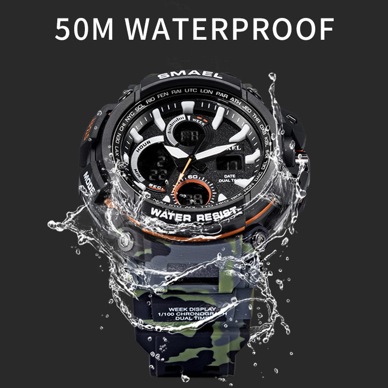 SMAEL Sport Watches 2018 Men Watch Waterproof LED Digital Watch Male - მამაკაცის საათები - ფოტო 5
