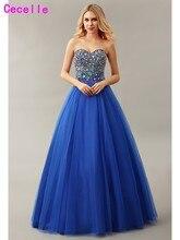 Real Royal Blue Baljurk Tulle Prom Dress 2019 Sweetheart Floor Lengte Zwaar Kralen Lijfje Prinses Prom Gown Voor meisje