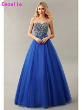 Real Royal Blue Ball Gown Tulle Prom Dress 2019 Sweetheart Floor Length Heavily Beaded Bodice Princess Prom Gown For Girl