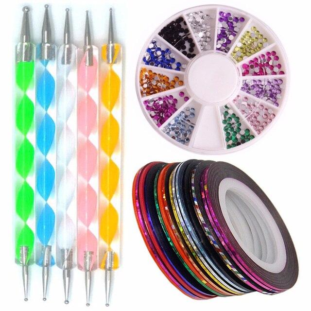 AddFavor Nail Art Tools Kit Nail Rhinestones Rolls Dotting Pen ...