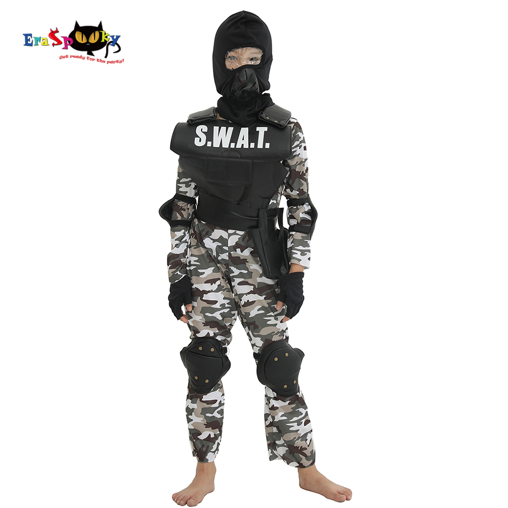 Eraspooky Carnival Party Fancy Dress Child SWAT Team Halloween Costume For Kids Camouflage Army Jumpsuit Outdoor Game Cosplay