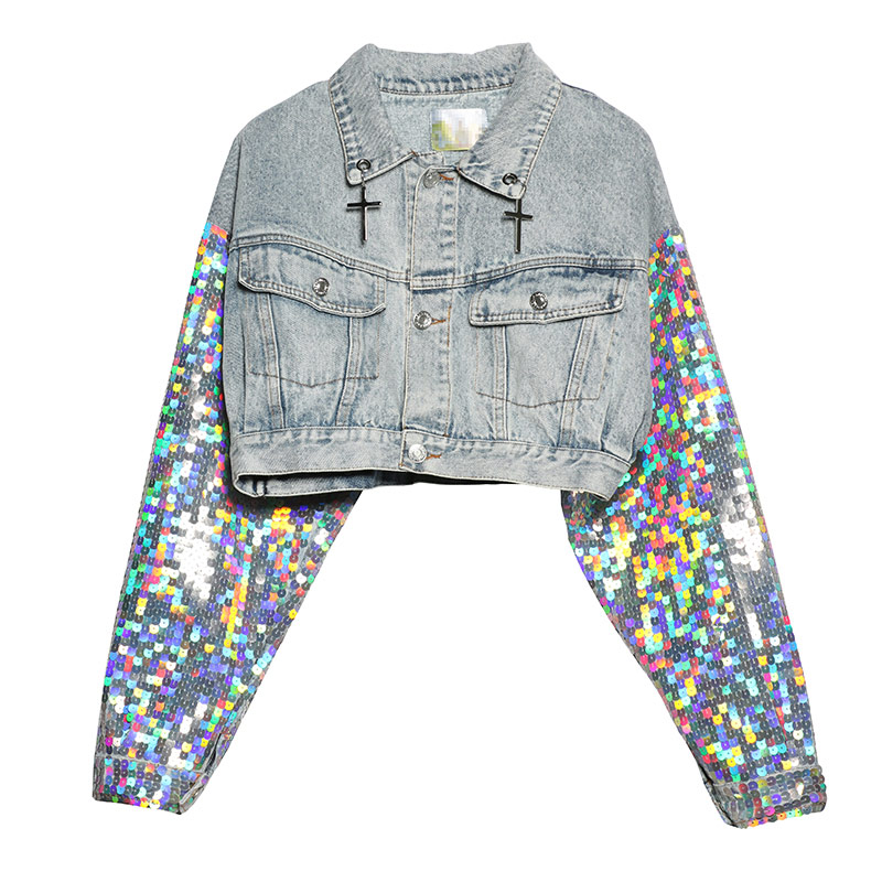 TREND Setter 2019 Autumn Jean Sequins Short Jacket Female Long Sleeve Personality Metal Frame Denim Jacket