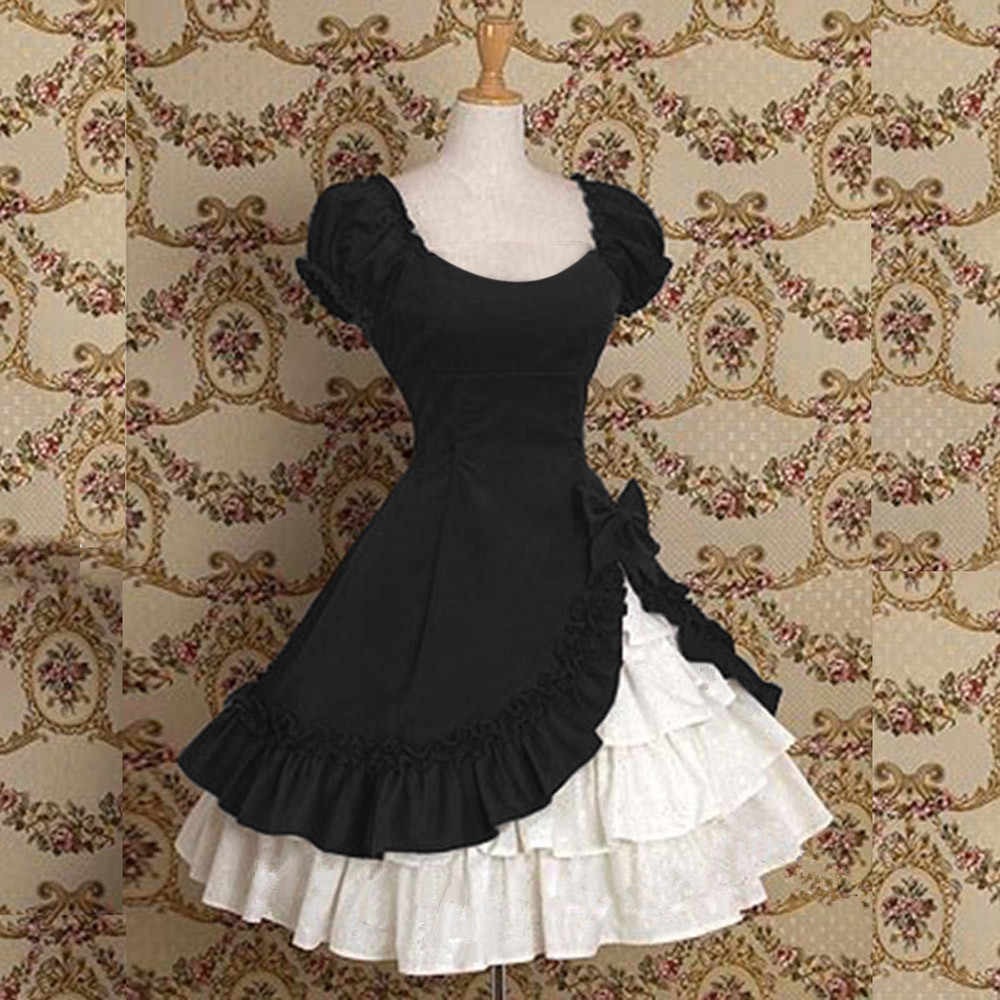 Feitong Vintage Women Dress Ladies Retro Ruffle Tiered Medieval Frill Frock  Party Ball Gowns Wedding Mini eb7ada078b78