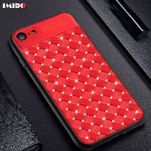 IMIDO Luxury Grid Woven Phone Case For iPhone 7 Plus Glitter Bling Diamond PC+TPU Back Cover For iPhone X 8 6 6S Plus 5 SE Coque чехол rock tpu pc guard series для iphone 7 plus 5 5