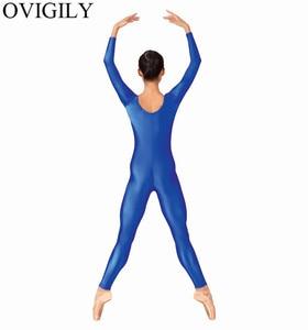 Image 2 - OVIGILY Womens Spandex Lycra Gymnastics Unitard Adults Royal Blue Long Sleeve Full Body Suits Exercise Unitards Scoop Neckline
