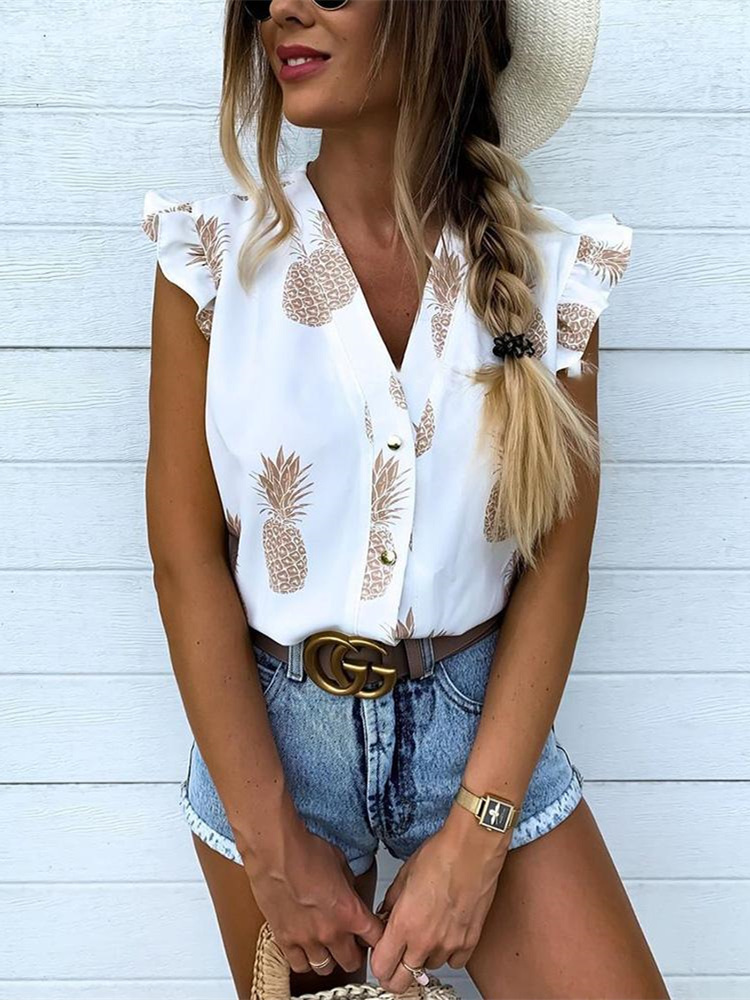 2019 Summer Women Elegant Vacation Leisure Top Female Holiday Girls Sweet   Shirt   Pineapple Print Flutter Sleeve Casual   Blouse