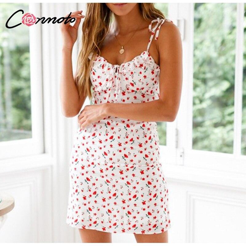 Conmoto Casual Floral Print Short Dress Women 19 Summer Holiday Sexy Beach Chiffon Dress Dress Femme Lace Up Dress Vestidos 8