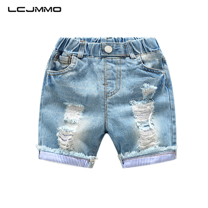 LCJMMO High Quality Boys Shorts Jeans Summer Baby Boy Denim Jeans Cotton Casual Ripped Kids Short Pants For Children Trousers(China)