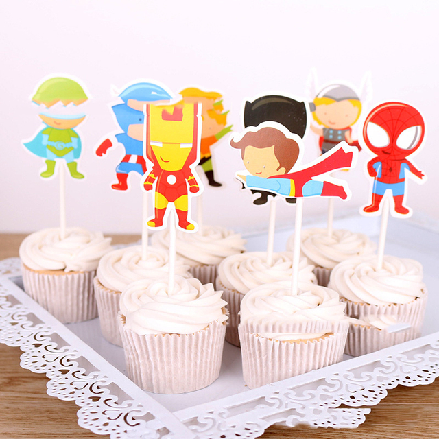 Happy Birthday Party Captain America Decorate Cake Toppers With