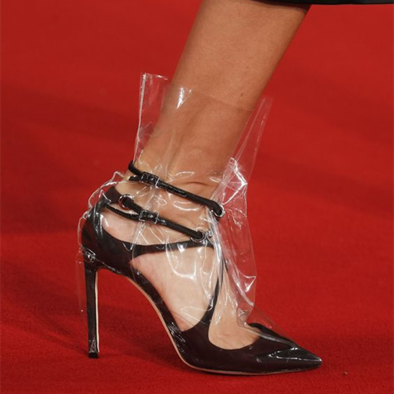 Sandalias Punta Verano Tobillo as Tacón Botas Mujeres Show Botines Bombas Alto Plástico De Zapatos Stiletto Las 2018 Show Transparente As Bolsa Estrecha OYP0B