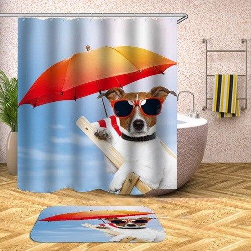 french basset hound shower curtain gold yellow long ear dog bathroom curtain washable waterproof fabric cortina ducha short dog