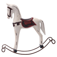 Nordic Wooden Crafts Living Room Office Decorations Creative Home Animal Ornaments Solid Wood Rocking Horse Decor Wedding Gift