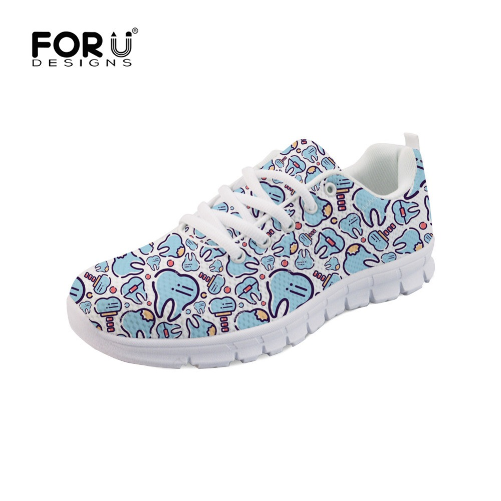 FORUDESIGNS Sneakers Women Shoes Cute Dentist Tooth Medical Pattern Breathable Walking Mesh Lace Up Flat Shoes