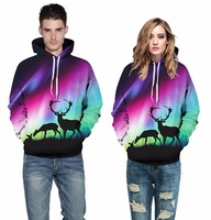 LOVE SPARK New 3D Horse Women Hoodies Sweatshirts Long Sleeve Unicone Elk Print Couple Hoodies S
