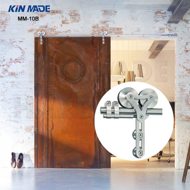 Great KIN MADE High Capacity Double Wheel Stainless Steel Sliding Barn Door  Hardware Kit Wooden Sliding Door