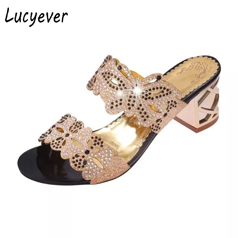 3d646f861808d Aliexpress.com   Buy Lucyever New Fashion Open Toe Women Summer Sandals  Crystal Thick Heel Rhinestone Slippers Women Casual Beach Slides size 35 41  from ...