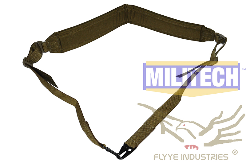 Military Spec Coyote Brown CB Machine Gun Tactical Safety LMG Single Point Sling FLYYE FY-SL-S006 LMG Single Safety Sling