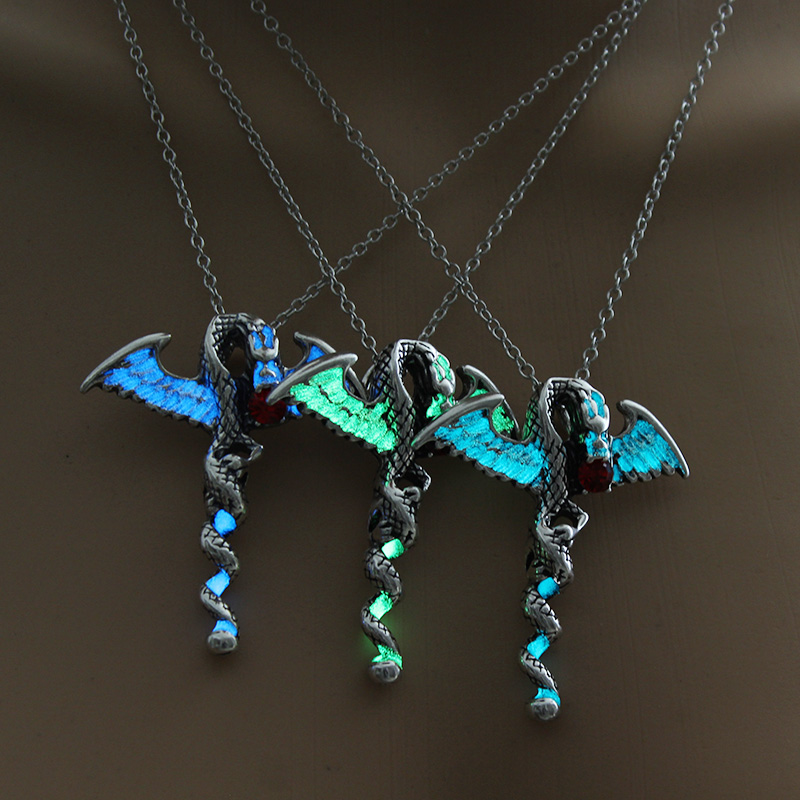 Game of Throne dragon Punk Luminous Dragon Pendants & Necklaces Glow in the DARK dragon amulet Sweater Chain Gift ancient ...