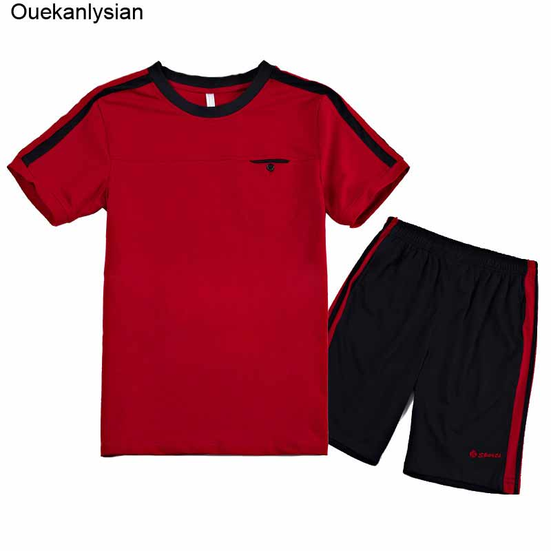 Ouekanlysian Summer Track set For Men Thin Short Sleeve Sportwear Tracksuit Set Plus size Casual O-neck Solid Sweatshirt Red
