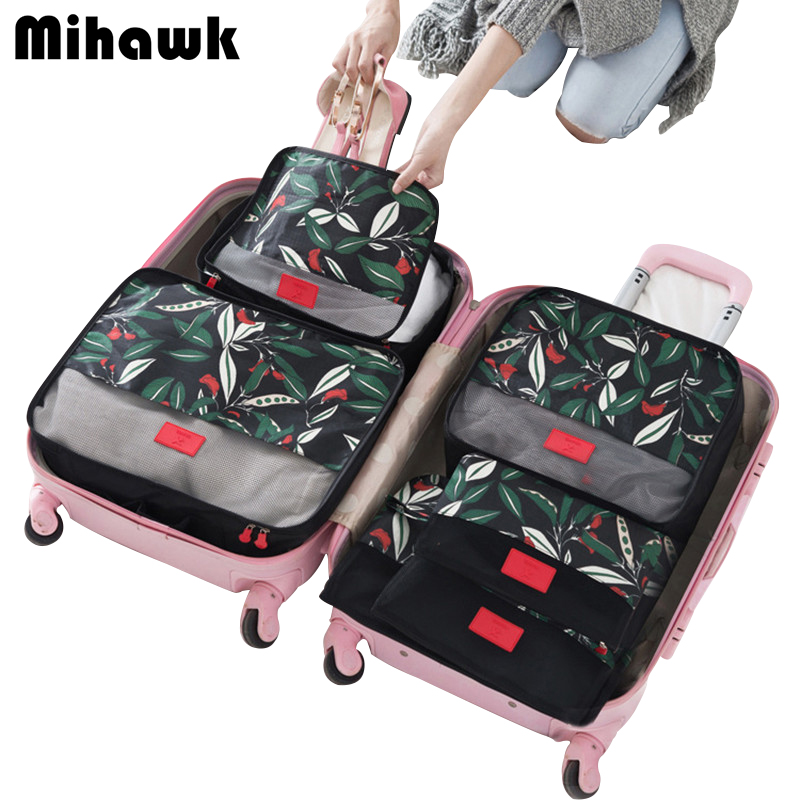 6Pcs/set Packing Cube Travel Bags Portable Large Capacity Clothing Sorting Organizer Luggage Accessories Supplies Products