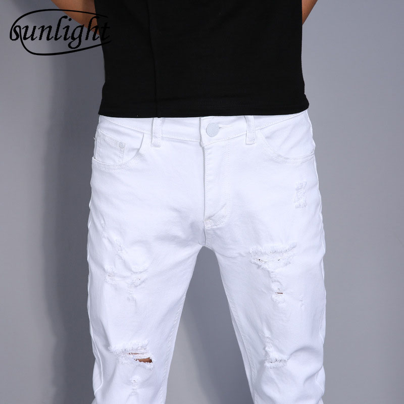 sunlight Fashion Mid Waist Cross Pants 2018 New Men Jeans White Solid Ripped Distresses Washed Hole Pants Slim Cotton Trousers