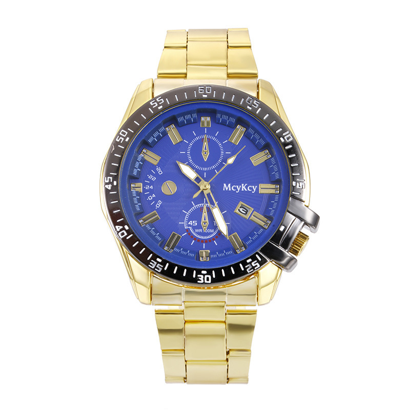 Gold  Stainless Steel Sports Watches Calendar Quartz Men Watch