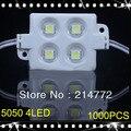 1000 pçs/lote MOLDAGEM POR INJEÇÃO 5050 4 LEDs/peça Módulos À Prova D' Água IP65 DC12V Led branco vermelho verde azul Livre grátis
