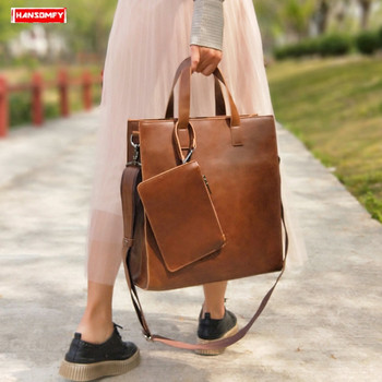 2020 New women's bag retro shopping handbag female vertical section laptop briefcase simple big leather shoulder messenger bag