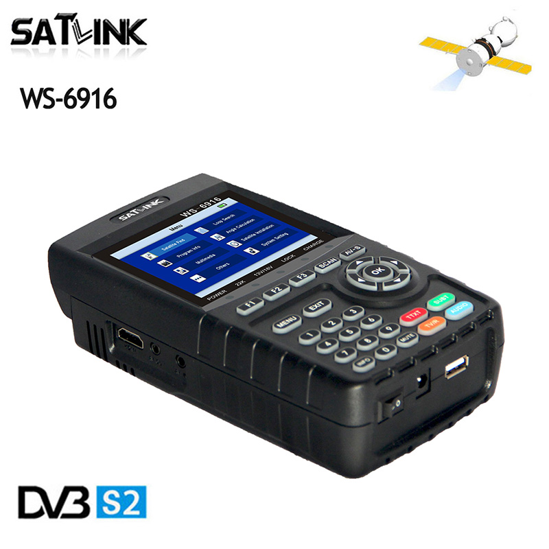 Original Satlink WS6916 Satellite Finder DVB-S2 MPEG-2/MPEG-4 WS-6916 High Definition Satellite Meter TFT LCD Screen 3.5 inch anewkodi original satlink ws 6906 3 5 dvb s fta digital satellite meter satellite finder ws 6906 satlink ws6906