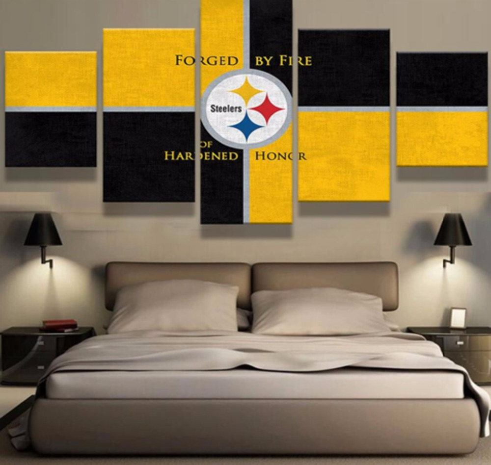 Hot Sel 5 Pieces Hd Print Pittsburgh Steelers Cuadros Decoration Paintings On Canvas Wall Art For Home Decorations Wall Decor