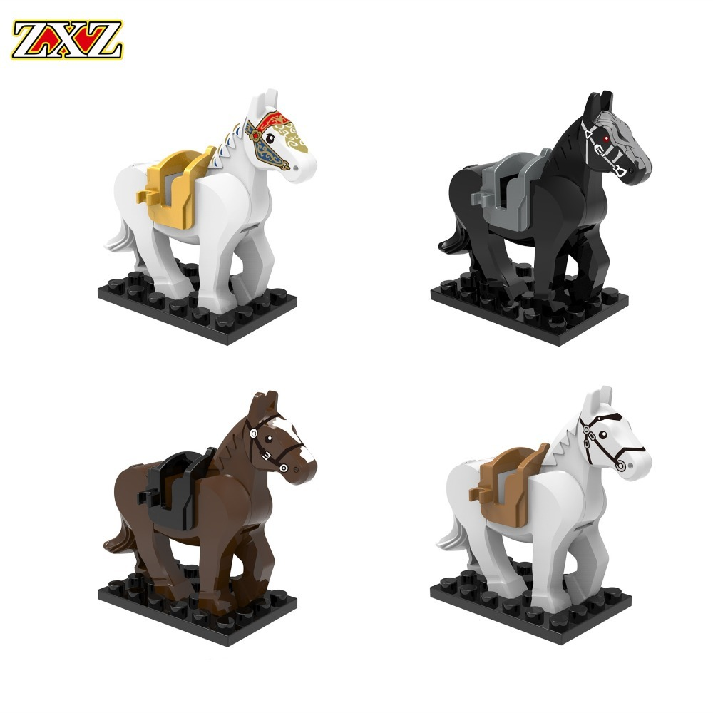 Diy White Horse Black Ring Lingma Castle in Ancient Magic Ring Dolls Building figures Toys Christmas Gift For Children Legoingly 6924 magic ring phantom impregnable fortress magic set white blue