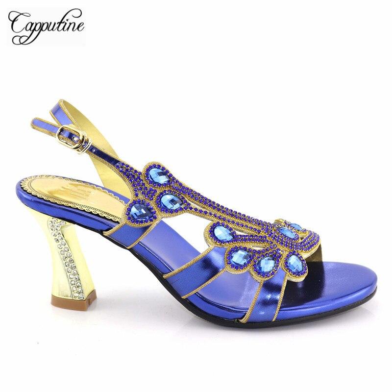 Capputine nouvelle conception africaine pompes élégantes chaussures pour mariage été strass talons hauts sandales pour la taille de la fête 38-42